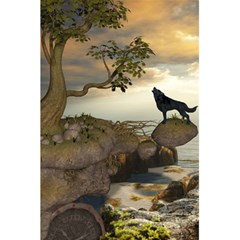 The Lonely Wolf On The Flying Rock 5 5  X 8 5  Notebooks