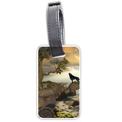 The Lonely Wolf On The Flying Rock Luggage Tags (one Side)