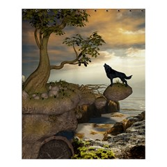 The Lonely Wolf On The Flying Rock Shower Curtain 60  X 72  (medium)