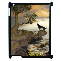 The Lonely Wolf On The Flying Rock Apple Ipad 2 Case (black)