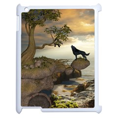 The Lonely Wolf On The Flying Rock Apple Ipad 2 Case (white)