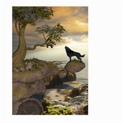 The Lonely Wolf On The Flying Rock Large Garden Flag (two Sides)