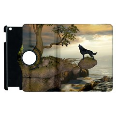 The Lonely Wolf On The Flying Rock Apple Ipad 3/4 Flip 360 Case