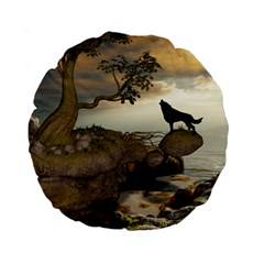 The Lonely Wolf On The Flying Rock Standard 15  Premium Round Cushions