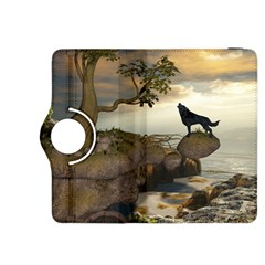 The Lonely Wolf On The Flying Rock Kindle Fire Hdx 8 9  Flip 360 Case