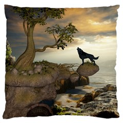 The Lonely Wolf On The Flying Rock Large Flano Cushion Case (one Side)