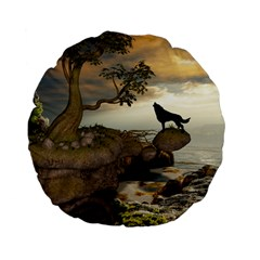 The Lonely Wolf On The Flying Rock Standard 15  Premium Flano Round Cushions