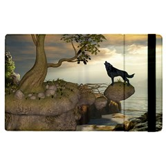 The Lonely Wolf On The Flying Rock Apple Ipad Pro 9 7   Flip Case