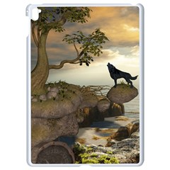 The Lonely Wolf On The Flying Rock Apple Ipad Pro 9 7   White Seamless Case