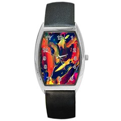 Abstract Acryl Art Barrel Style Metal Watch