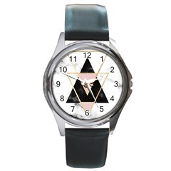 Triangles,gold,black,pink,marbles,collage,modern,trendy,cute,decorative, Round Metal Watch