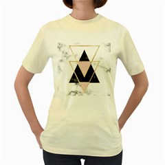 Triangles,gold,black,pink,marbles,collage,modern,trendy,cute,decorative, Women s Yellow T Shirt