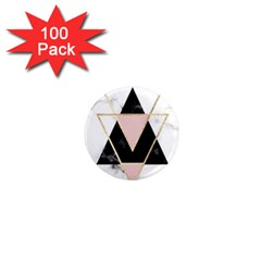 Triangles,gold,black,pink,marbles,collage,modern,trendy,cute,decorative, 1  Mini Magnets (100 Pack)