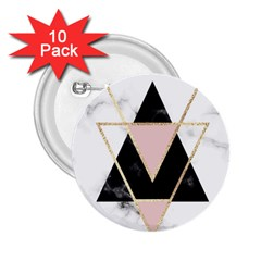 Triangles,gold,black,pink,marbles,collage,modern,trendy,cute,decorative, 2 25  Buttons (10 Pack)
