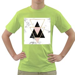 Triangles,gold,black,pink,marbles,collage,modern,trendy,cute,decorative, Green T Shirt