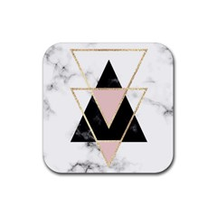 Triangles,gold,black,pink,marbles,collage,modern,trendy,cute,decorative, Rubber Square Coaster (4 Pack)