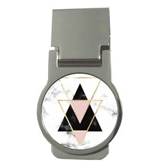 Triangles,gold,black,pink,marbles,collage,modern,trendy,cute,decorative, Money Clips (round)