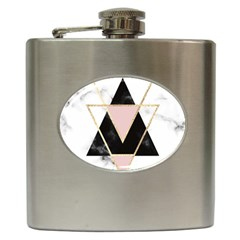 Triangles,gold,black,pink,marbles,collage,modern,trendy,cute,decorative, Hip Flask (6 Oz)