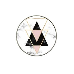 Triangles,gold,black,pink,marbles,collage,modern,trendy,cute,decorative, Hat Clip Ball Marker