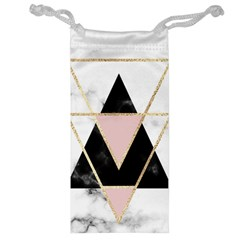 Triangles,gold,black,pink,marbles,collage,modern,trendy,cute,decorative, Jewelry Bag