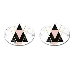 Triangles,gold,black,pink,marbles,collage,modern,trendy,cute,decorative, Cufflinks (oval)