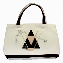 Triangles,gold,black,pink,marbles,collage,modern,trendy,cute,decorative, Basic Tote Bag