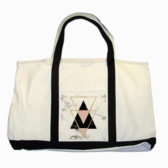 Triangles,gold,black,pink,marbles,collage,modern,trendy,cute,decorative, Two Tone Tote Bag