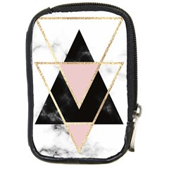 Triangles,gold,black,pink,marbles,collage,modern,trendy,cute,decorative, Compact Camera Cases