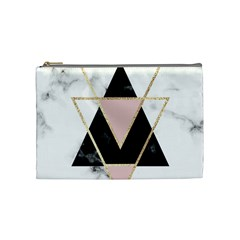Triangles,gold,black,pink,marbles,collage,modern,trendy,cute,decorative, Cosmetic Bag (medium)