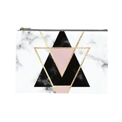 Triangles,gold,black,pink,marbles,collage,modern,trendy,cute,decorative, Cosmetic Bag (large)