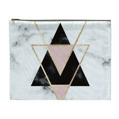 Triangles,gold,black,pink,marbles,collage,modern,trendy,cute,decorative, Cosmetic Bag (xl)