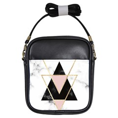 Triangles,gold,black,pink,marbles,collage,modern,trendy,cute,decorative, Girls Sling Bags