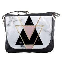 Triangles,gold,black,pink,marbles,collage,modern,trendy,cute,decorative, Messenger Bags