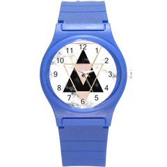 Triangles,gold,black,pink,marbles,collage,modern,trendy,cute,decorative, Round Plastic Sport Watch (s)