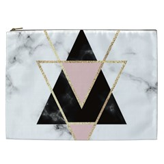 Triangles,gold,black,pink,marbles,collage,modern,trendy,cute,decorative, Cosmetic Bag (xxl)