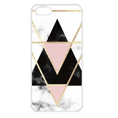 Triangles,gold,black,pink,marbles,collage,modern,trendy,cute,decorative, Apple Iphone 5 Seamless Case (white)