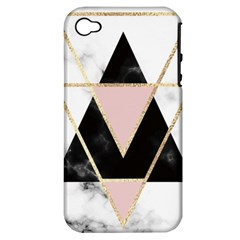 Triangles,gold,black,pink,marbles,collage,modern,trendy,cute,decorative, Apple Iphone 4/4s Hardshell Case (pc+silicone)