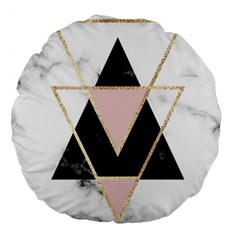 Triangles,gold,black,pink,marbles,collage,modern,trendy,cute,decorative, Large 18  Premium Round Cushions