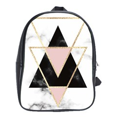 Triangles,gold,black,pink,marbles,collage,modern,trendy,cute,decorative, School Bag (xl)