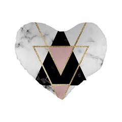 Triangles,gold,black,pink,marbles,collage,modern,trendy,cute,decorative, Standard 16  Premium Heart Shape Cushions