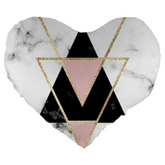 Triangles,gold,black,pink,marbles,collage,modern,trendy,cute,decorative, Large 19  Premium Heart Shape Cushions