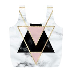Triangles,gold,black,pink,marbles,collage,modern,trendy,cute,decorative, Full Print Recycle Bags (l)