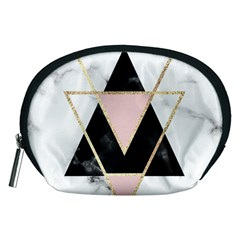 Triangles,gold,black,pink,marbles,collage,modern,trendy,cute,decorative, Accessory Pouches (medium)