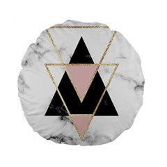 Triangles,gold,black,pink,marbles,collage,modern,trendy,cute,decorative, Standard 15  Premium Flano Round Cushions