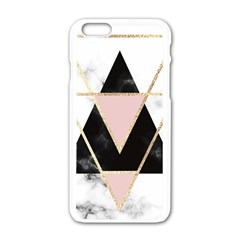 Triangles,gold,black,pink,marbles,collage,modern,trendy,cute,decorative, Apple Iphone 6/6s White Enamel Case