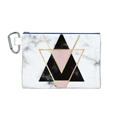 Triangles,gold,black,pink,marbles,collage,modern,trendy,cute,decorative, Canvas Cosmetic Bag (m)