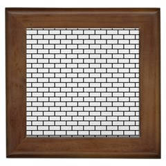 Brick1 Black Marble & White Linen Framed Tiles