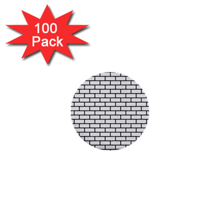 BRICK1 BLACK MARBLE & WHITE LINEN 1  Mini Buttons (100 pack)