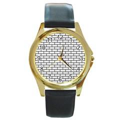 Brick1 Black Marble & White Linen Round Gold Metal Watch