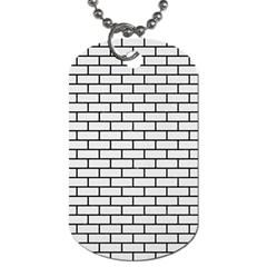 Brick1 Black Marble & White Linen Dog Tag (one Side)